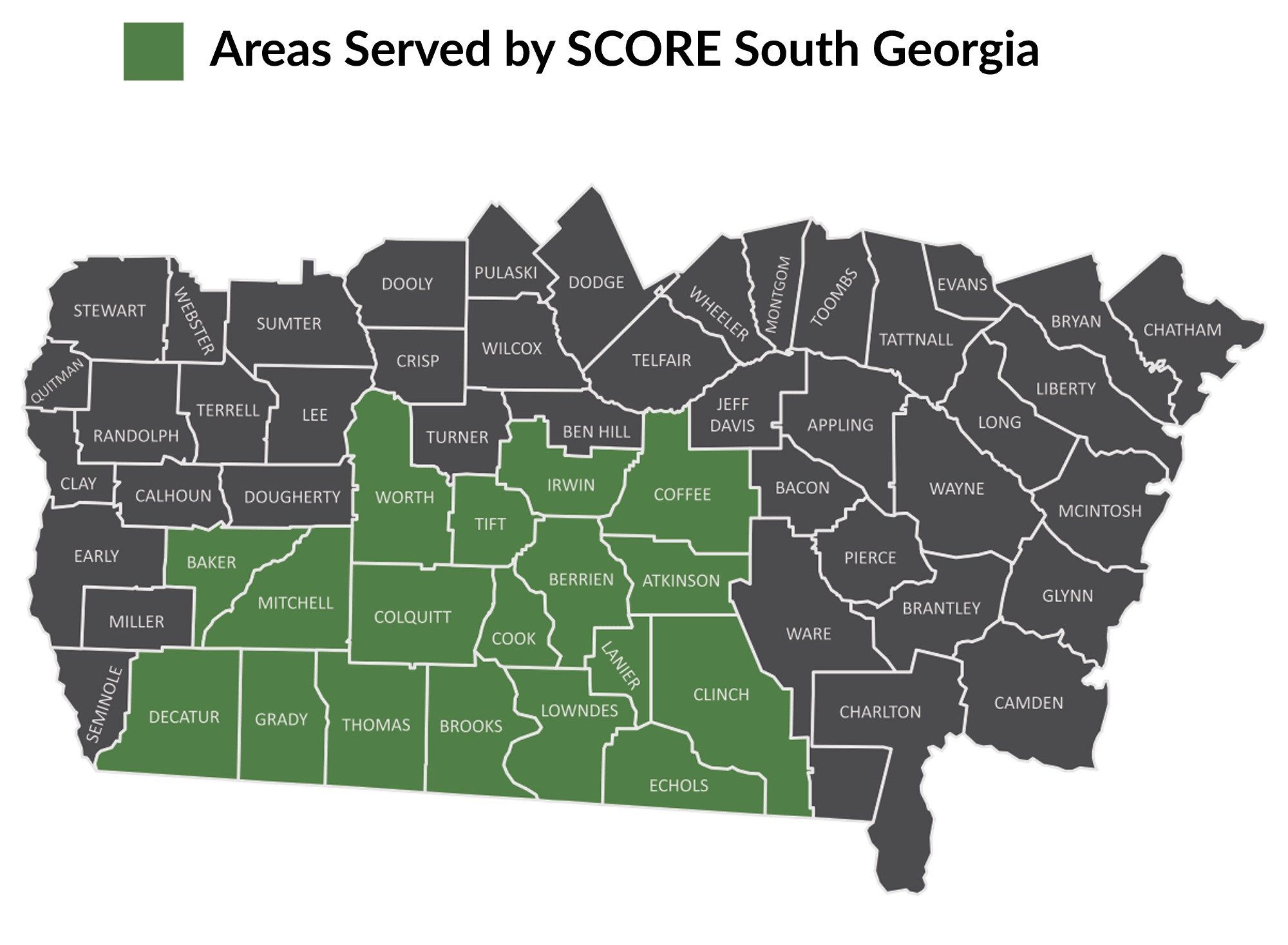 Map of counties served by SCORE South Georgia
