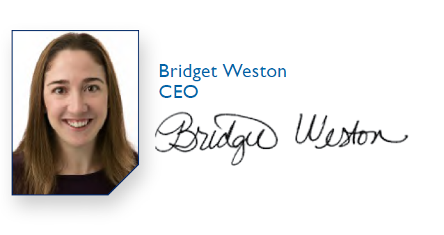 Bridget Weston headshot and signature