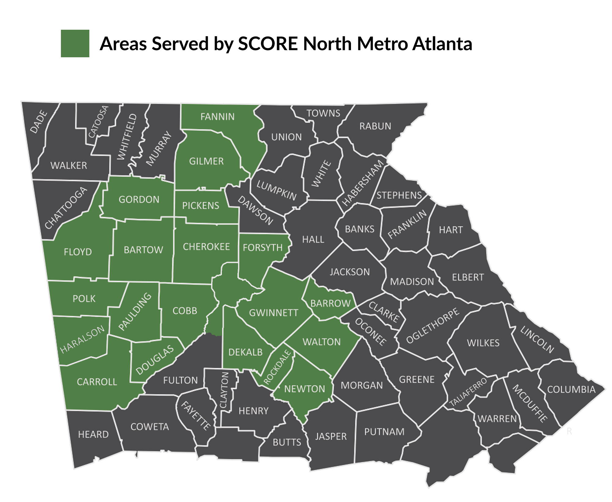Map of North Georgia showing areas served by SCORE North Metro Atlanta