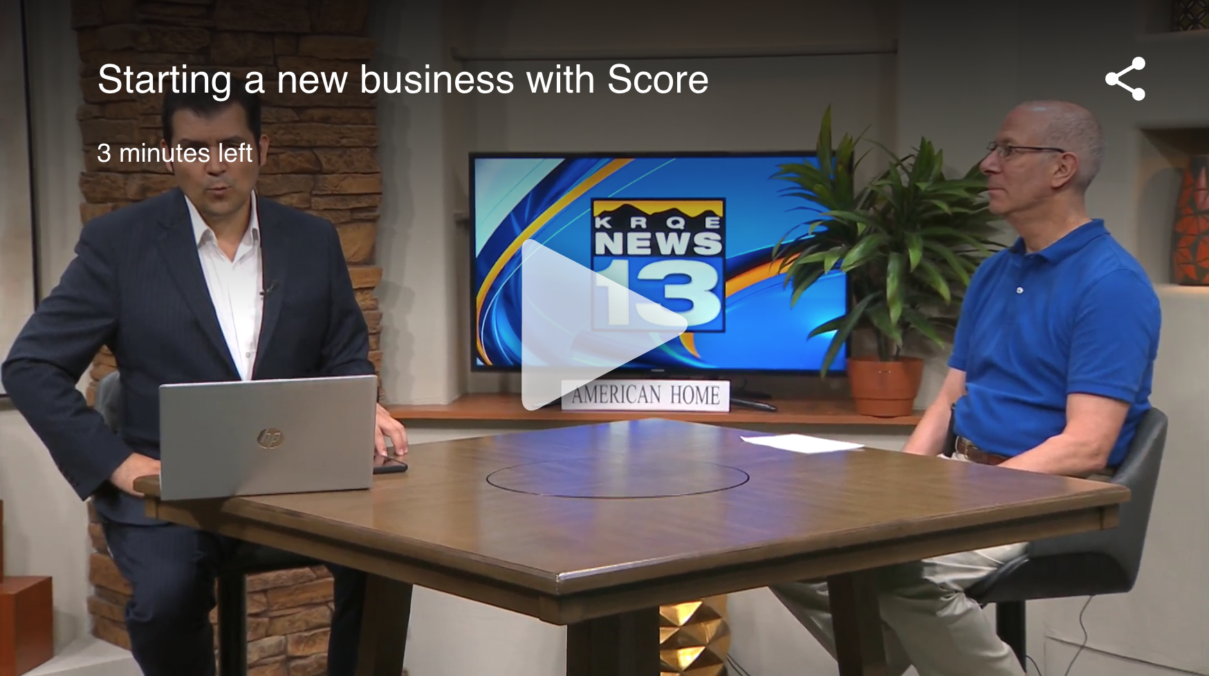 SCORE Mentor speaking with KRQE news anchor