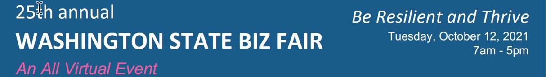 Blue advertising banner promoting Washington BIZ Fair