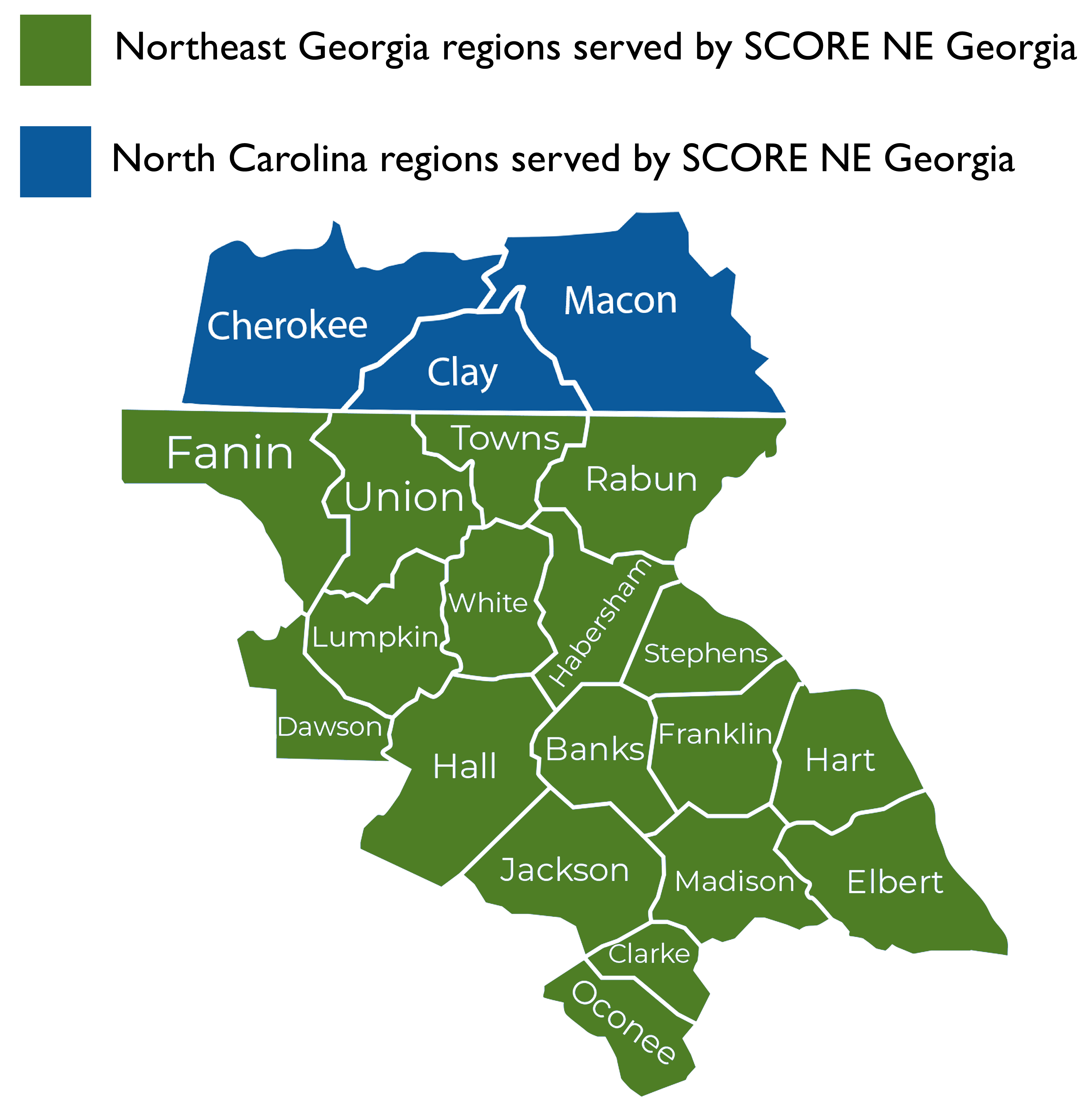 Map of counties served by Northeast Georgia chapter