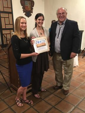 City Council member Peter Ives with Lara Bache and Anjeli Davidson of the Santa Fe Community Yoga Center.