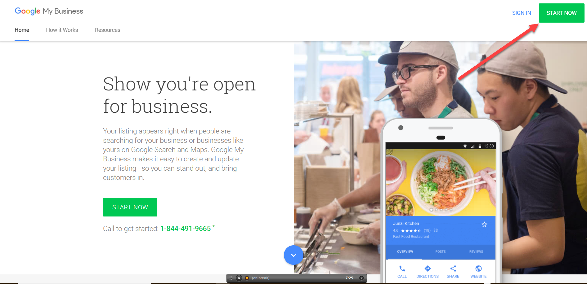 Google My Business welcome page