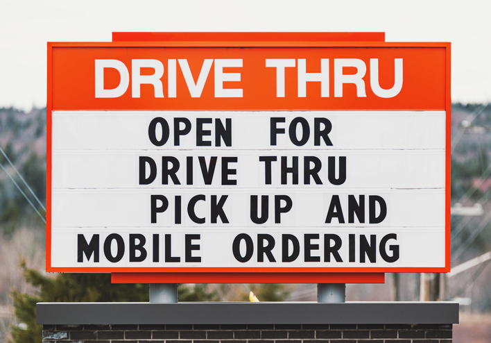 Drive Thru sign for restaurant
