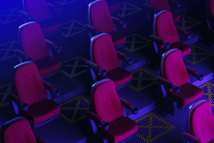 theatre seats placed six feet apart for covid restrictions