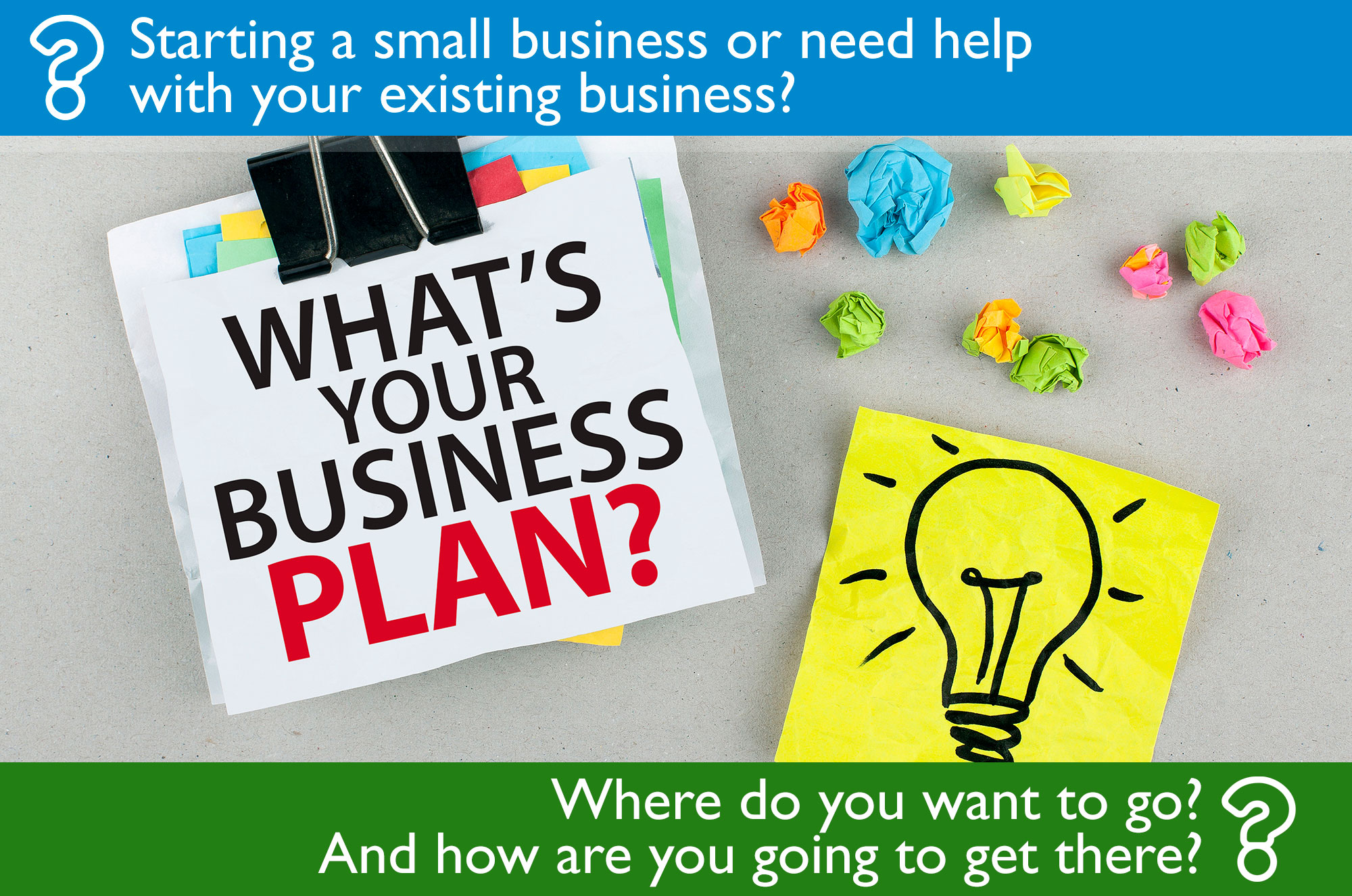 Starting a small business or need help with your existing business? Where do you want to go? And how are you going to get there?