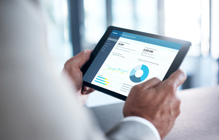 tablet with financial information