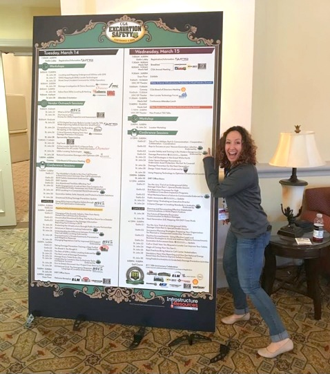 Monica is looking pretty happy in this image from the CGA National Conference in Orlando, Florida in 2017.  Her presentations ranked in the top 10 of the conference two years in a row, with Monica's 2016 presentation on Trench Safety ranking #1 Safety Presentation out of over 60 speakers.