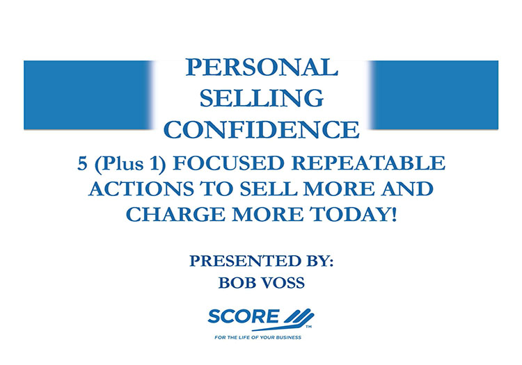 Personal Selling confidence First Slide