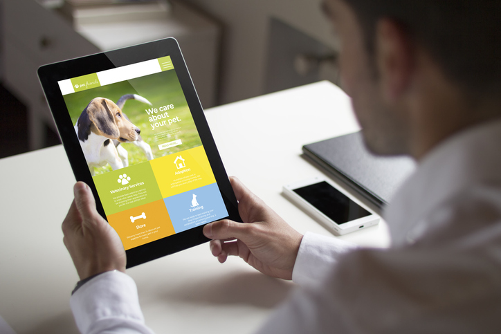 Pet care website on tablet