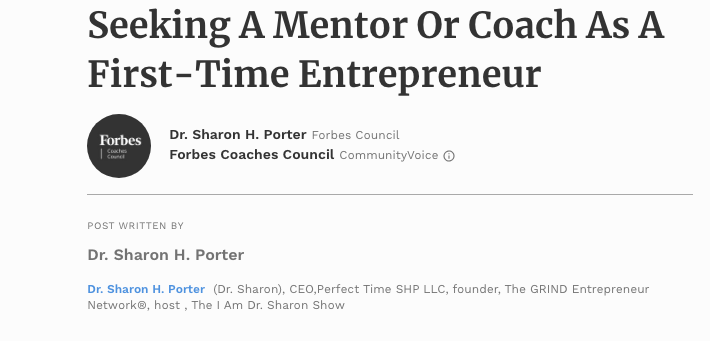 IN THE NEWS  | Seeking A Mentor Or Coach As A First-Time Entrepreneur