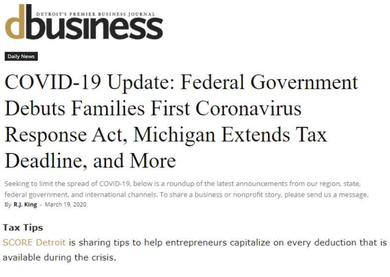 dBusiness Offers COVID-19 Update, Including SCORE's Tax Planning Tips