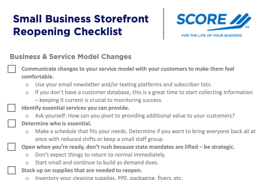 SCORE of Southeast Michigan Offers Small Business Storefront Reopening Checklist