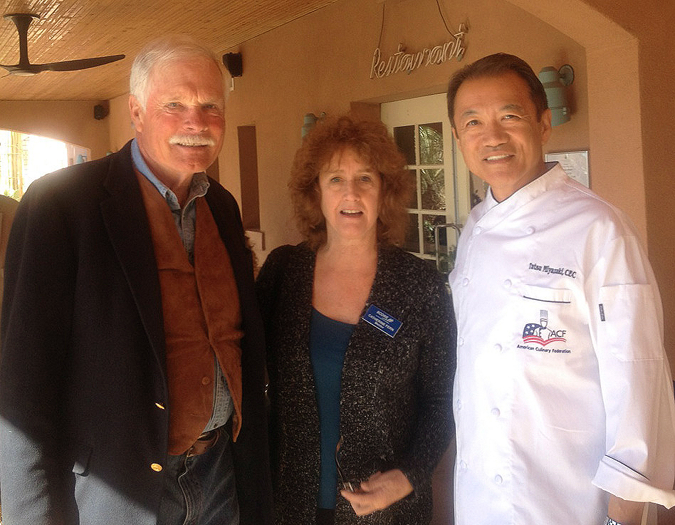 SCORE Las Cruces Chair and Volunteer, Cathie Fern with Ted Turner and Chef Tatsu Miyazaki at the grand opening of Turner's Restaurant at Sierra Grand, Truth or Consequences, NM