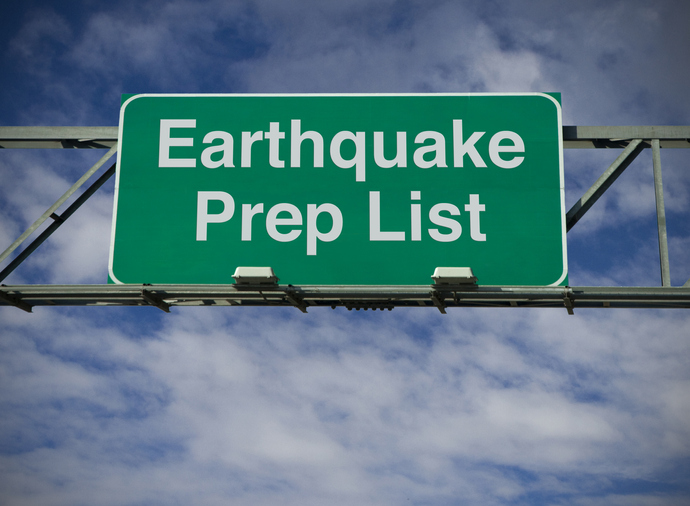 earthquake prep sign