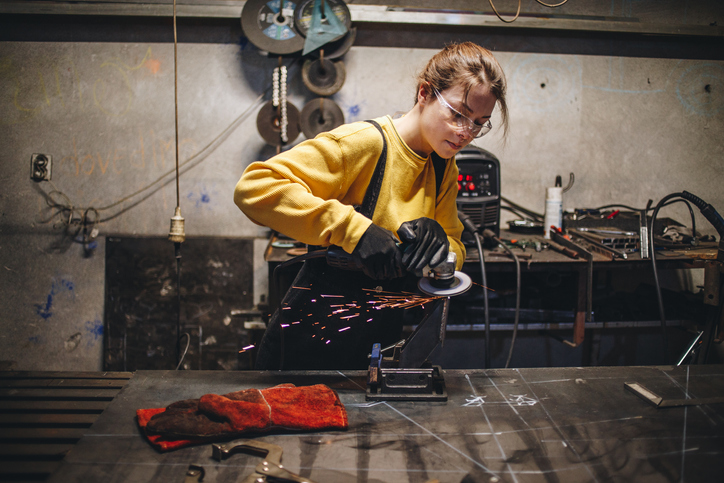 female metal welder