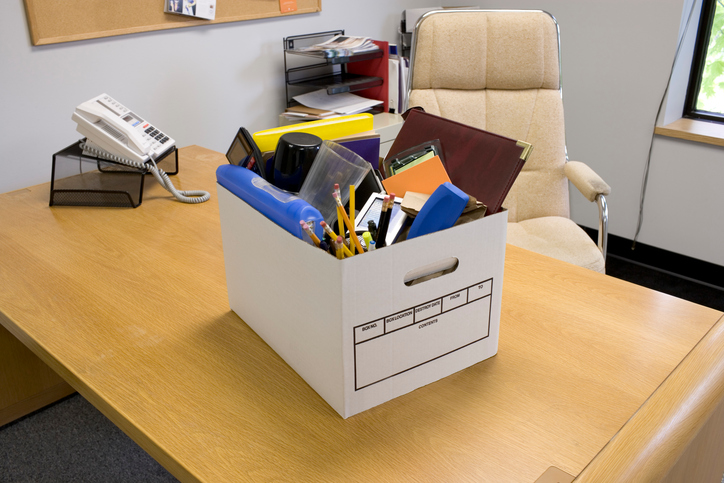 box of belongings in office