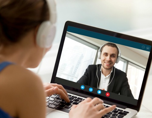 man and woman have a video call