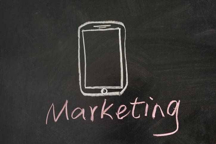 mobile marketing drawn on a chalkboard