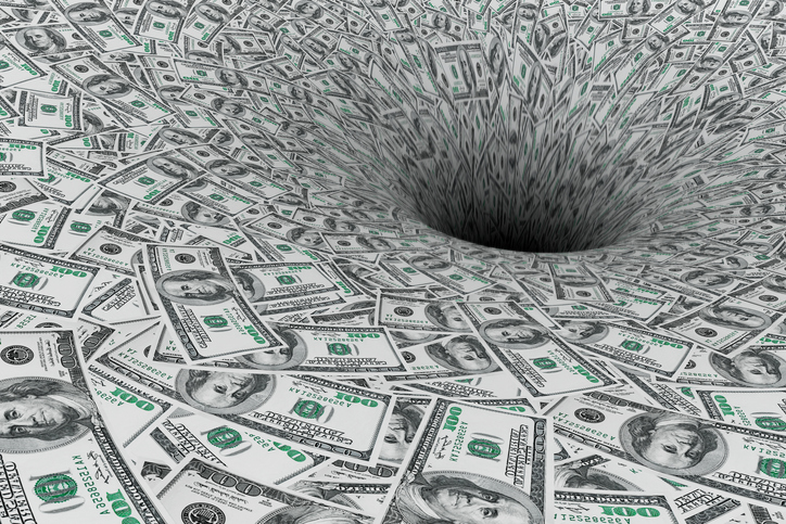 money going down a black hole