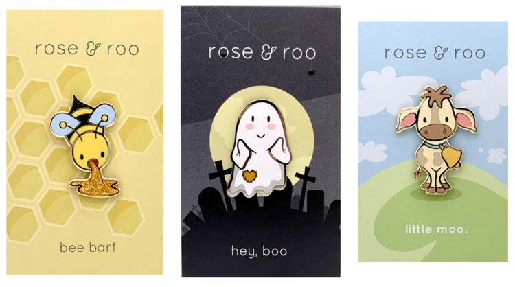 Rose & Roo enamel pins - Bee Barf, Hey Boo, Little Moo