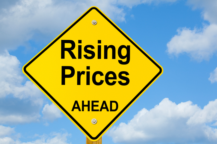 rising prices sign