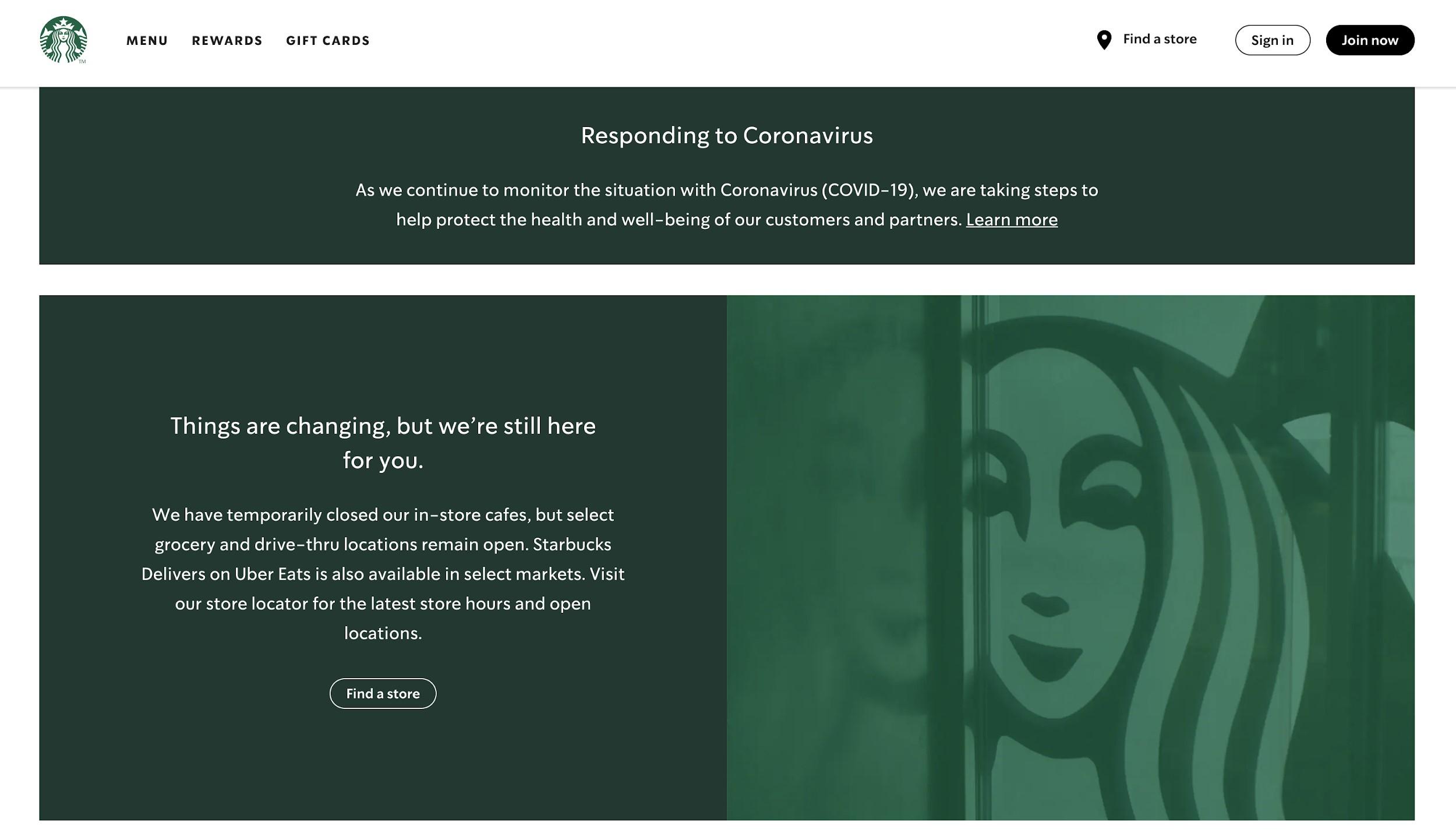 Starbucks Coronavirus response