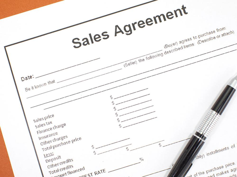 A picture of a sales agreement
