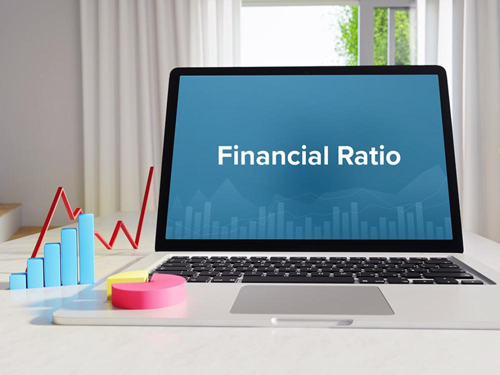 word financial ratio on laptop screen
