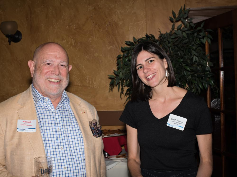 "SCORE SECT Volunteer Michael Del Vecchio with Guest Speaker Sarah Kessler, Author of ""Gigged: The End of the Job and the Beginning of Work,"" 8/22/18"