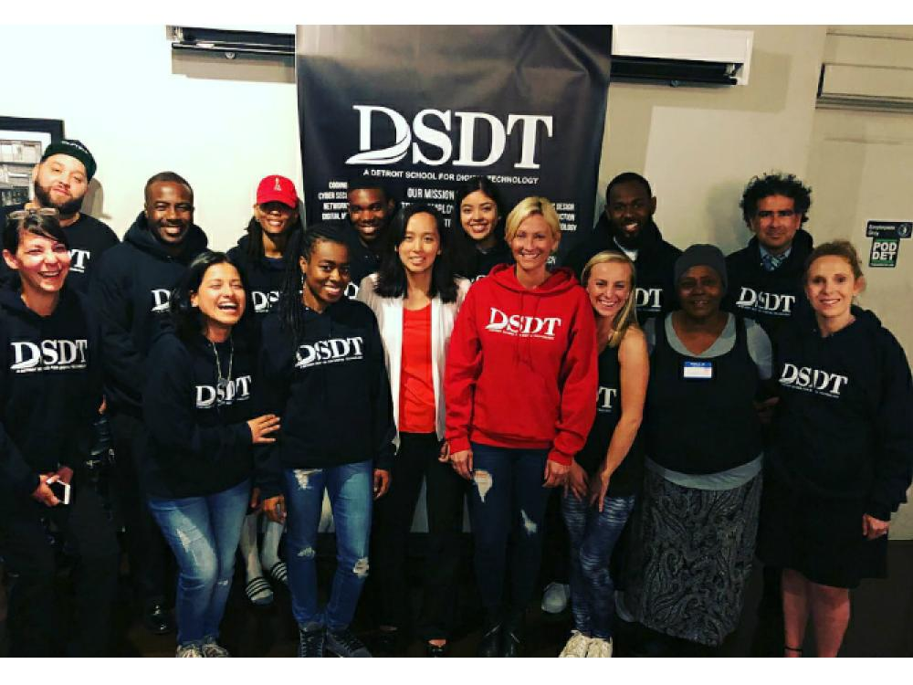 DSDT founder Jamie Kothe and students