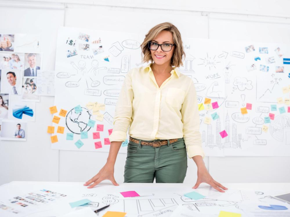 female entrepreneur planning on whiteboard