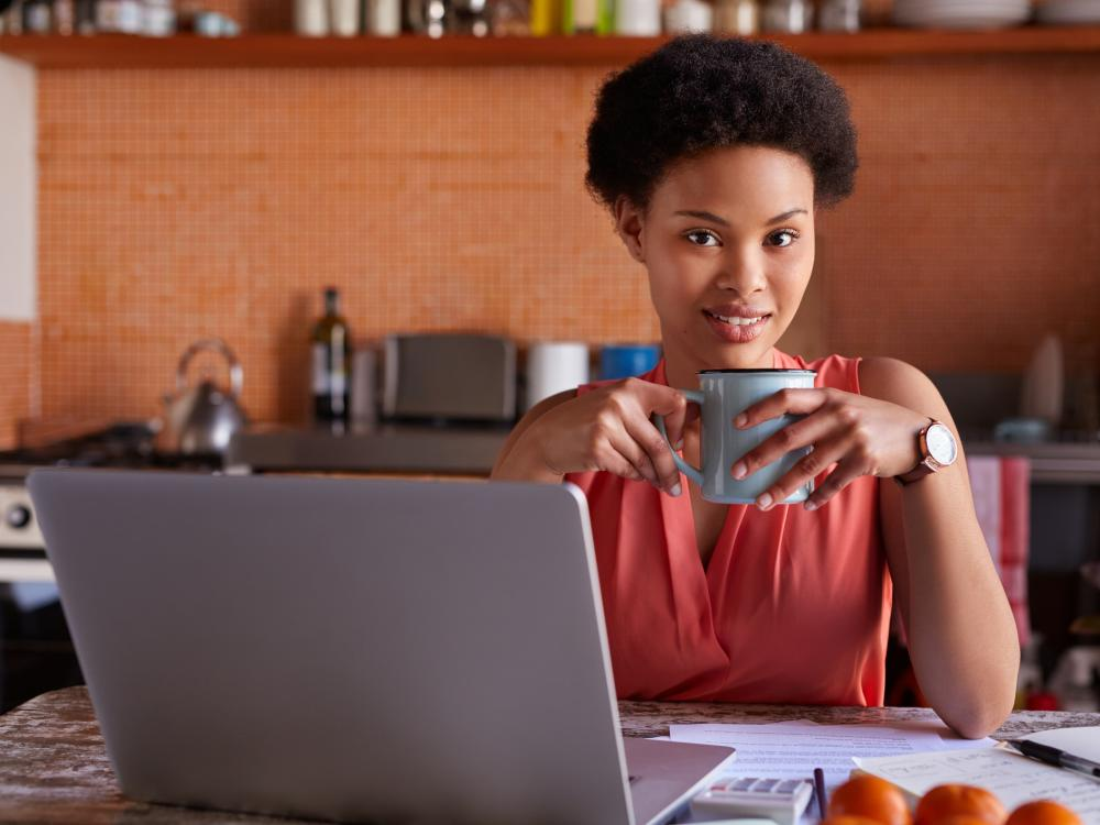 Small business owner in front of her computer