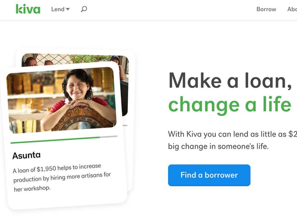 screenshot of KIVA website