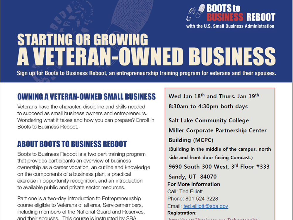 Jan 18 and 19 2017 Boots to Business Reboot Workshop
