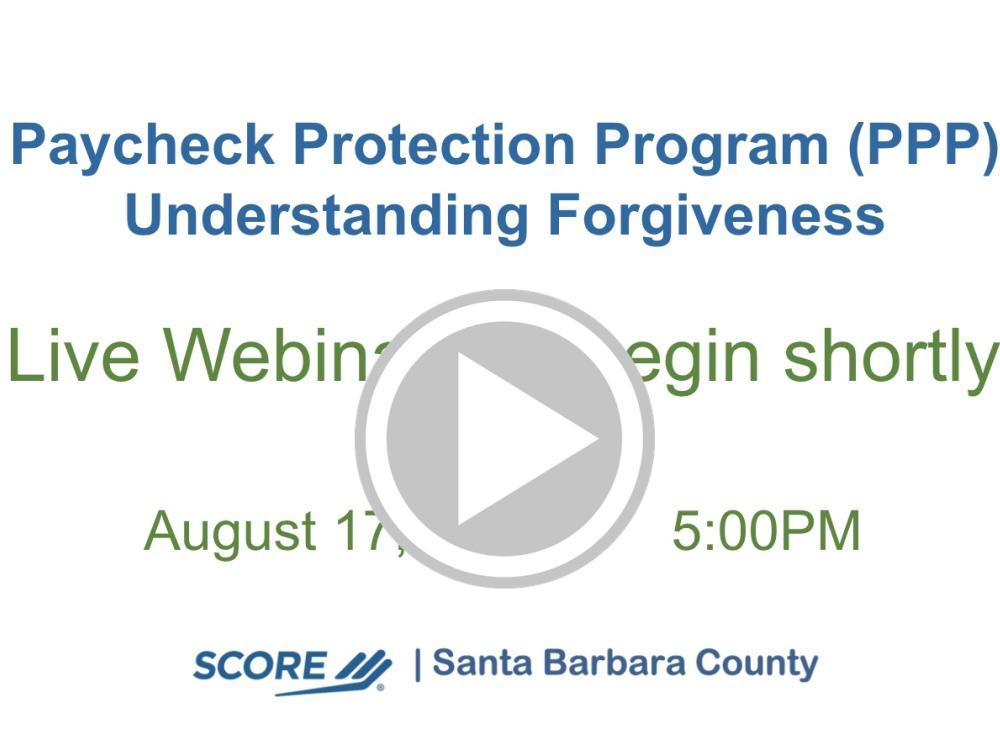 PPP: Understanding Forgiveness Recorded Webinar