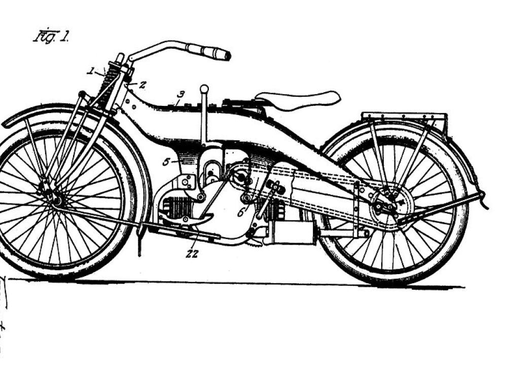 Intellectual property type: Patent: Harley's 1924 Motorcycle Patent source: Wikimedia Commons