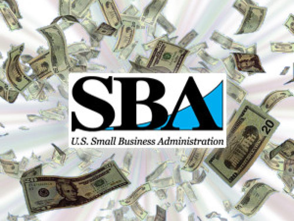 SBA Guananty Loans Article Tile Image | Falling Money + Logo