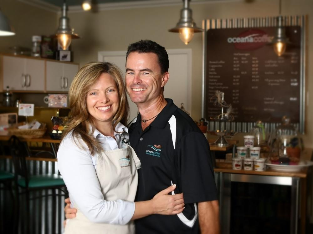 Scott & Amy Angelo, Oceana Coffee - Photo Credit: Palm Beach Post