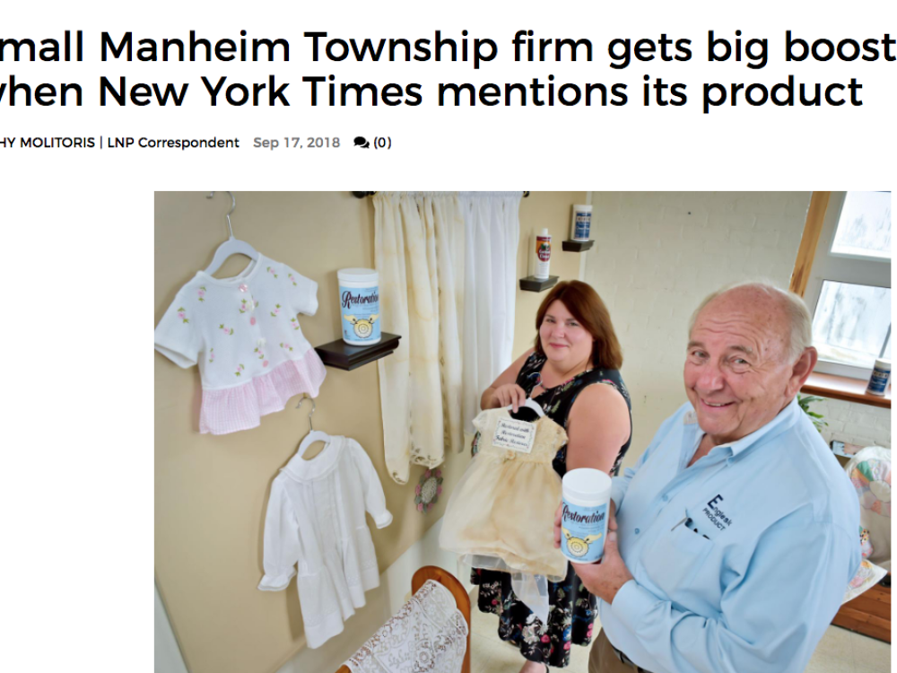In The  News | Small Manheim Township firm gets big boost when New York Times mentions its product