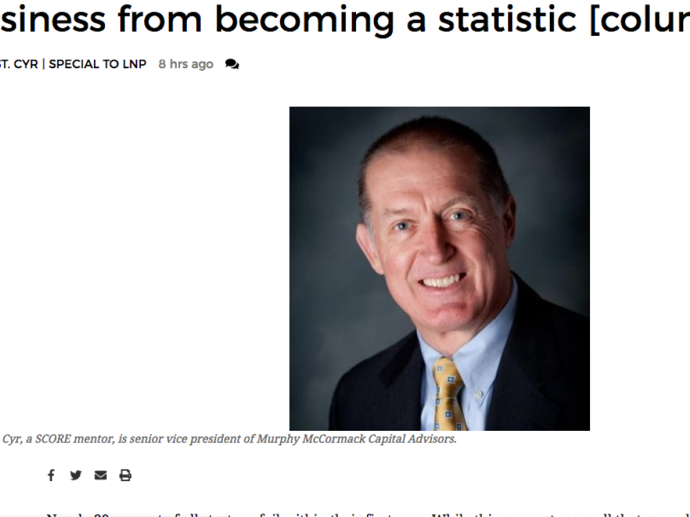 IN THE NEWS |  Why startups fail - and how to keep your business from becoming a statistic by SCORE Mentor Kevin St. Cyr