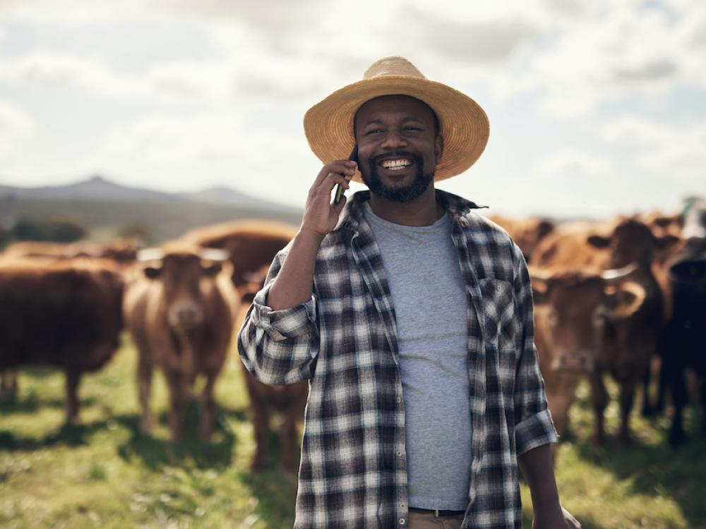 blacker farmer standing with cattle while talking on phone`