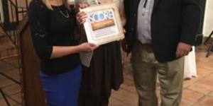 City Council member Peter Ives with Lara Bache and Anjeli Davidson of the Santa Fe Community Yoga Center.