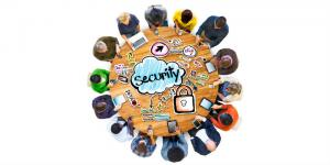 people around table about security
