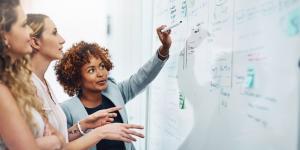 3 businesswomen working on a white board with true grit.