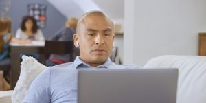 Man working from home on his laptop.