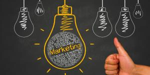 marketing written in chalk inside light bulb