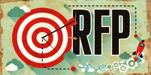 Illustration of a bullseye along with the acronym 'RFP'