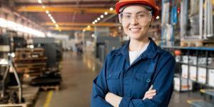 female employee in manufacturing plant
